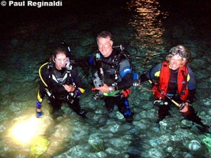 Bobbi, Paul & Cindy Getting Ready for Night Dive